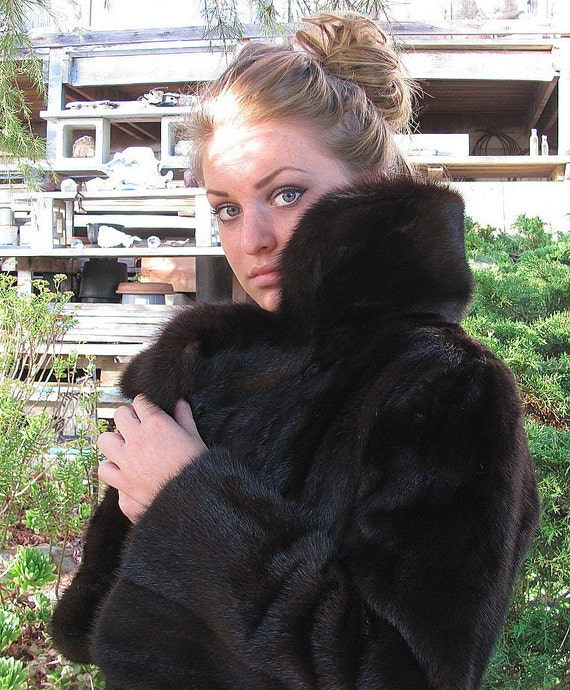 Graf's Fitted Ranch Mink Coat with Sable Collar with 91 inch Sweep