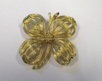 Vintage Satin Finish Gold tone Flower Brooch, Wear or Repurpose