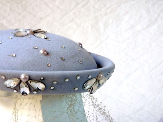 vintage hat with rhinestones, ice blue with veil reserved for CAT