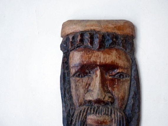 African Jesus, primitive hand carved and painted wood wall plaque