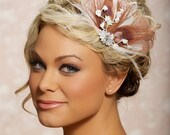 Pink Berry Fascinator Headpiece Bridal Head Piece Peacock Feather Wedding Hair Accessories Wedding Hair Clip - Made to Order - CHANTAL
