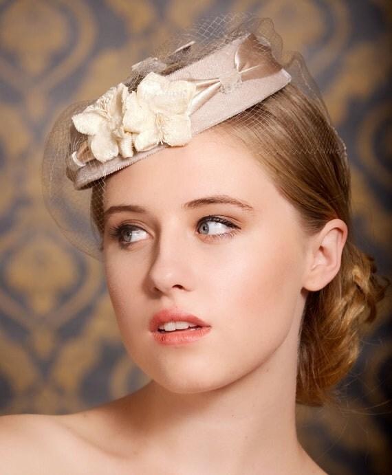 Champagne Blush Wedding Cocktail Hat Birdcage Veil Bridal Head