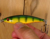 Fishing Lure, Hand Made by Uncle Jay, Top Water Prop Fish in Yellow Perch pattern,