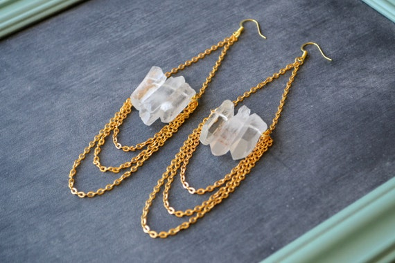 Raw Quartz and Gold Chains Earrings