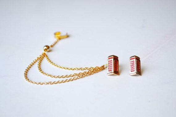Red Phone Booth Gold Ear Cuff (Pair)