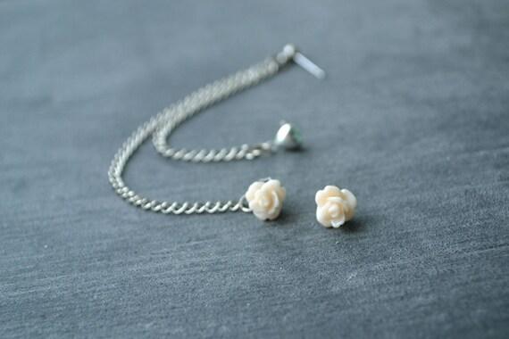 Pale Pink Flower Bud and Heart Multiple Pierce Silver Cartilage Earrings (Pair)