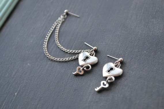 Pewter Lock and Key Double Pierce Cartilage Earring (Pair)