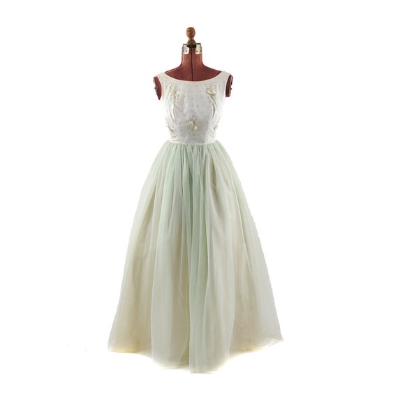 Vintage 1960's Pale Green Couture Satin Chiffon Mad Men Party Dress S