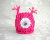 Baby Girl Monster Hat Knitted in Pink with Large Eyeball Perfect for Infant Photography or Halloween Costume