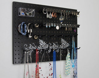 Jewelry Organizer - Necklace Hanger  - Earring Holder -- Black With Silver Vine Design