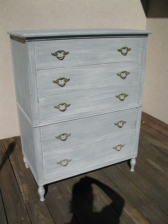 For Mike  Chic and Shabby Beachy Silver Grey Tall Dresser / Chest of Drawers
