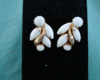 WEISS earrings, marked, made about 1950, CLIP ONS