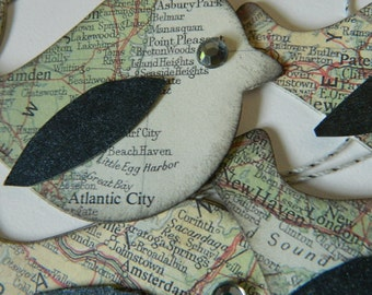 Where in the World - Eastern Seaboard - Vintage Map Paper  - Bird tags - Set of 6
