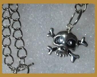 Halloween Skeleton Head Crystal Eyed Silver Necklace