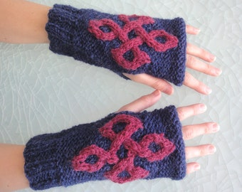 Fingerless Viking Mittens with  St. John's Cross symbol