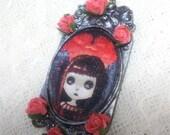Taradolls OOAK original painting cameo necklace art doll big eyes art gothic blythe