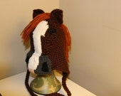 Hand knit custom horse hat