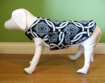 Fleece Dog Coat, Medium, Black & White Celtic Knot Print with Black Fleece Lining