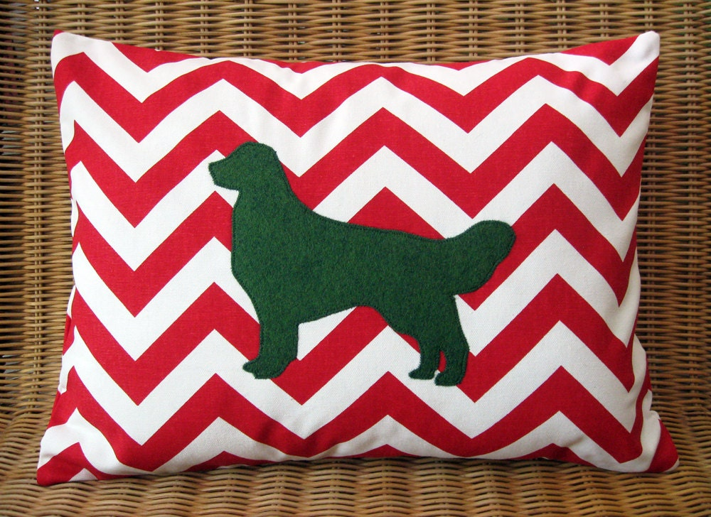Christmas Appliqued Golden Retriever Pillow with Red & White Chevron Print