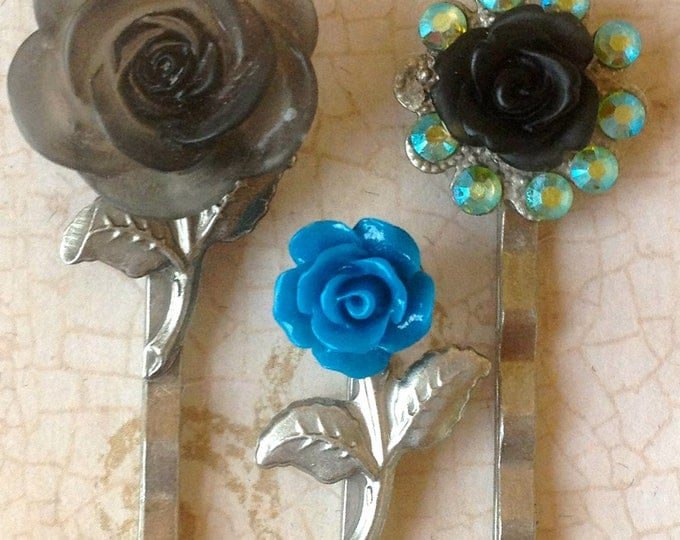Bobby Pins, Hair Pins, Hair Clips, Hair Barrettes, Flower Bobby Pins, Flower Hair Clips, Rose Bobby Pin, Hair FOBS