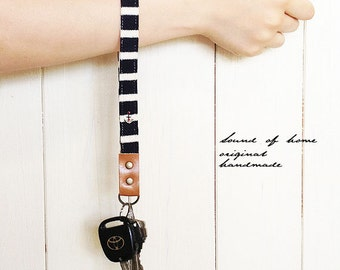 Nautical anchor unisex navy leather size middle key holder gift idea Japan zakka
