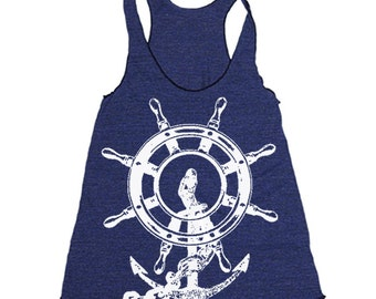Anchor Shipwreck Workout Tank - Workout Clothes For Women - Running Shirt - Run Tank Top - Run Shirt - Gym Tank Top