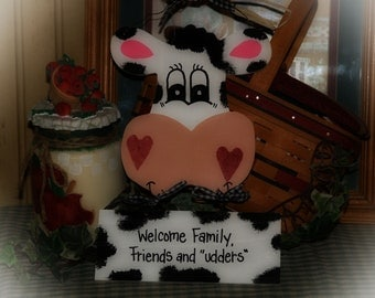 COWS Welcome Sign Cow Country Wall Kitchen Door Decor