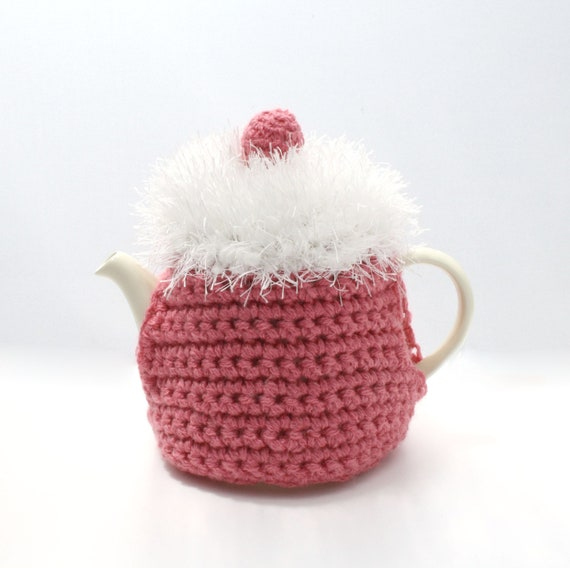 All Pink White Iced Cupcake Tea Cosie With Pink Berry