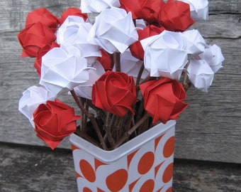 1st wedding anniversary gift-paper flowers-Red and white origami roses on natural sticks- a bunch of  12 stems-Ready to ship