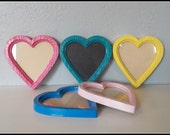 YOU CHOOSE the color - Upcycled Heart Frame with Glass - Pick one or more - Upcycled Wall Art - Clear Glass, Cork Board or Chalkboard