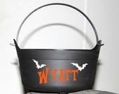 Personalized Halloween bucket with bats