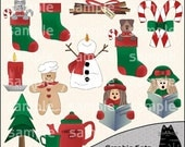 Holiday Time Christmas Clipart and Graphic Set, Carolers Clipart, Holiday Clipart - Digital Scrapbooking Kit