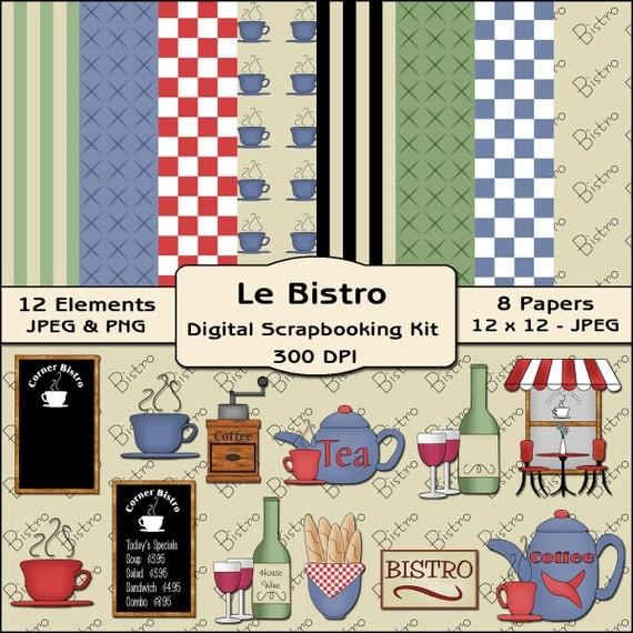 Items similar to le bistro restaurant digital scrapbooking for Scrapbooking cuisine