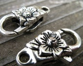 6 Silver Flower Lobster Clasps 24mm Antiqued Silver Sunflower Clasps