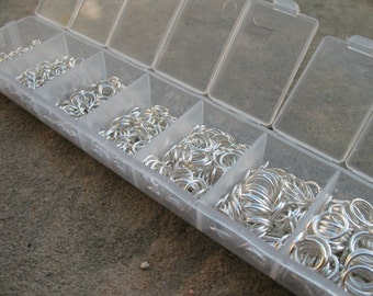 1 Box Set Silver Jump Rings Assorted Sizes 3mm - 8mm Nickel Free 1500 pieces