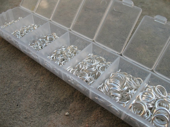Silver Jump Rings, Boxed Set of Multiple Sizes,  Nickel Free, 1500 pieces