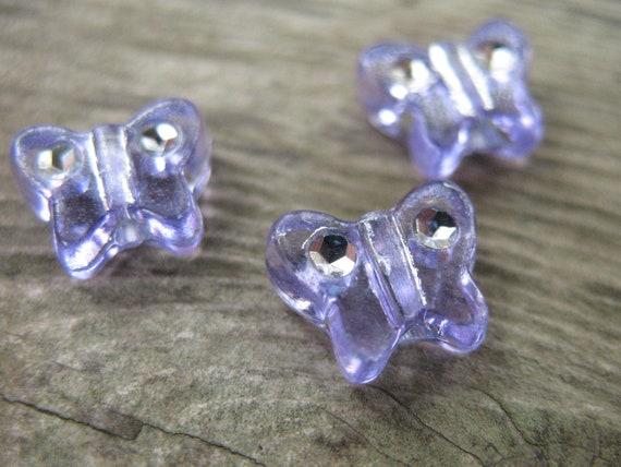 Purple Butterfly Beads, Acrylic, Rhinestones, 10mm 30 pcs