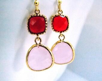 Glass Earrings, Pink Earrings, Red Earrings, Valentines Day Earrings, Ruby, Soft Pink, Light Pink, Bridesmaid Earrings, Bridesmaid Gifts