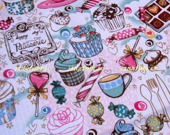 "W197A  - Vinyl Waterproof Fabric - Icecream candy cake and coffee - pink  - 27""x19""(70cmX50cm)"