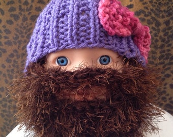Baby Bearded Beanie - Purple Hat and Pink Bow w Long Brown Fuzzy Beard Jase Duck Dynasty 0-6 months