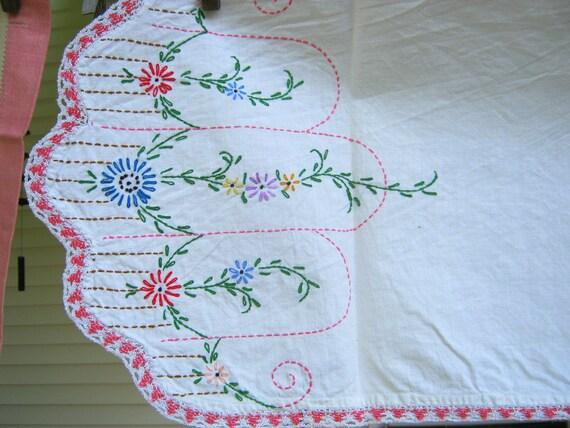 Vintage Dresser Scarf Floral Embroidery Runner Pink Crochet Trim Table Linens