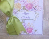 Happy Birthday Greeting Card with Floral Pattern
