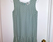 Dropwaist 60s polka dot mint green dress - RESERVED FOR ANDREA