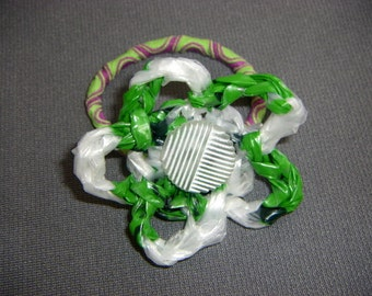 Green, White, and Purple Plarn Flower Ponytail Holder with Vintage Button