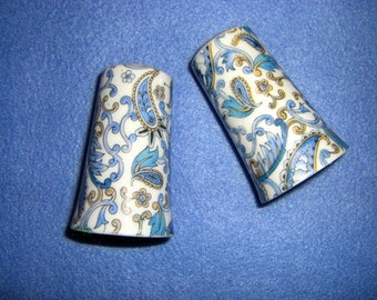 Blue Paisley Salt and Pepper Shakers by Lefton