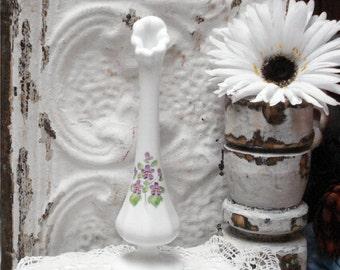 Fenton Violets Snow Hand Painted By Kim Blake Bud Vase