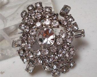 1 5/8 Rhinestone Brooch Gorgeous Sparkle Vintage