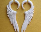 Fake Gauge Earrings - CELESTE - Hand Carved White Bone Wings - Organic Tribal Jewelry