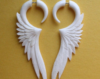 Fake Gauge Earrings - CELESTE - Hand Carved White Bone Wings - Organic Tribal Jewelry