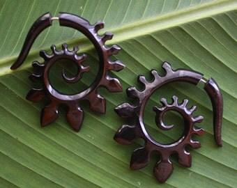 Fake Gauges Earrings- HYRA Spirals - Hand Carved Natural Black Horn